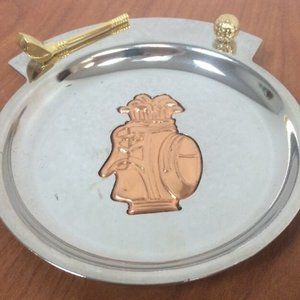 CHROME TRAY Coin Trinket Dish GOLF CLUB & BALL